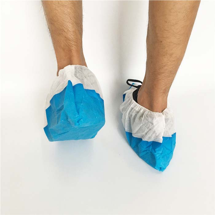 Non-woven overshoes with non-slip CPE sole