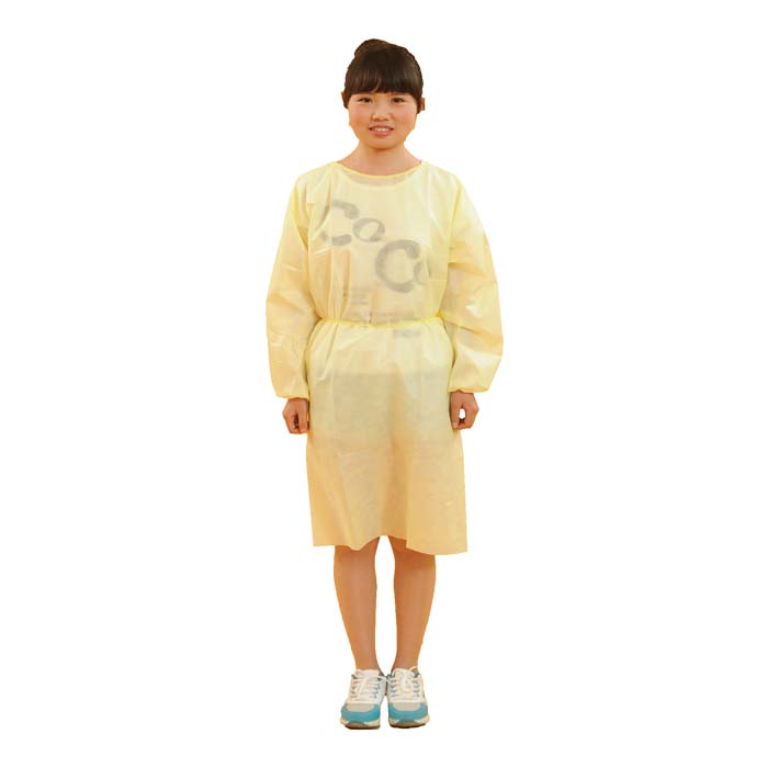 Non-woven Yellow Isolation Gown knit cuff non woven fluid resistant