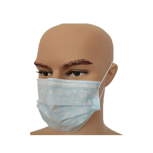 Blue Printing Ear-loop Protective 3 layer Polypropylene Face Mask