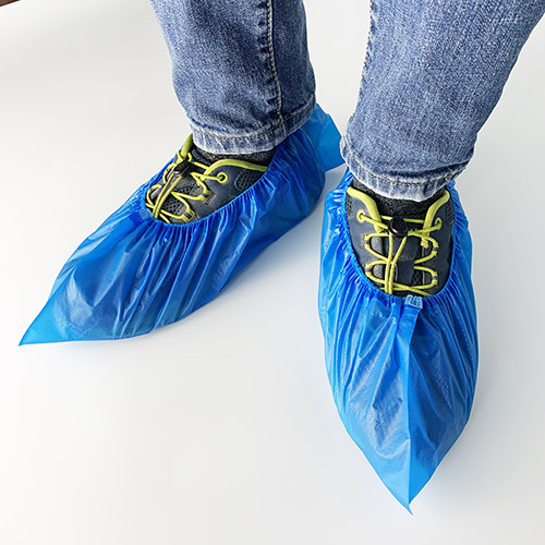 Disposable Plastic  Medical  Blue CPE Shoe covers